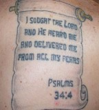 Psalm 34:4 Verse Tattoo on Back Body