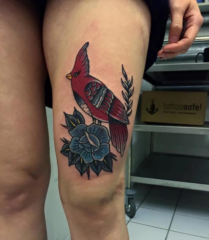 bird leg tattoos for women