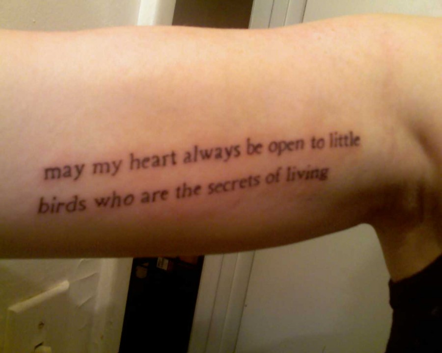 Quote about little birds on upper inside arm for Inner arm tattoos quotes