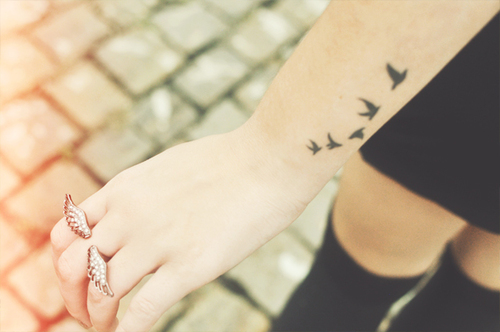 e182970c4 Awesome Five Flying Birds Silhouette Tattoo on Wrist - | TattooMagz ...