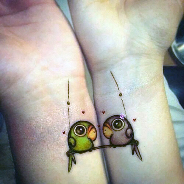 birdies wrist couples tattoos