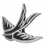 Black Enamel Swallow Sparrow Belt Buckle Tattoo Design