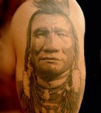 Blackfoot Indian Head Tattoo for Men Shoulder