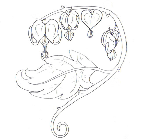 bleeding hearts and flowers sketch tattoo design - Hearts Flowers Coloring Pages