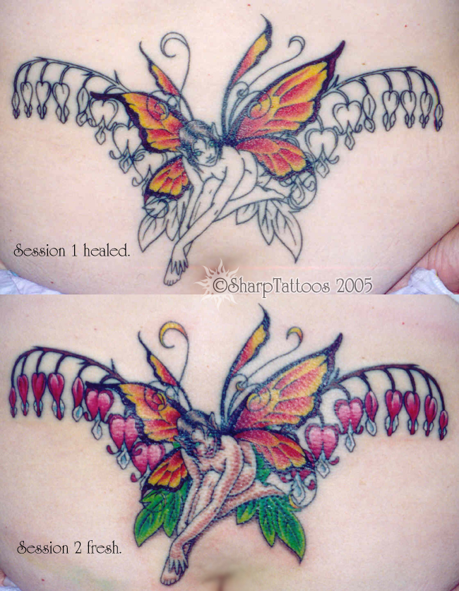 sharptattoos bleeding butterfly and flower tattoo for women. Black Bedroom Furniture Sets. Home Design Ideas