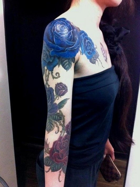 blue rose flower tattoo