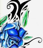 Blue Rose Combine with Tribal Tattoo Sketch Design