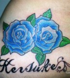 Cute Blue Rose Tattoo Design