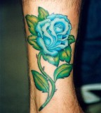 Beautiful Blue Rose Queen Tattoo on Forearm