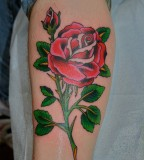 Rose with Green Leafs Tattoo Design