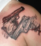 Boondock Saints Tattoo Hands Holding Guns, Bearing Veritas And Aequitas