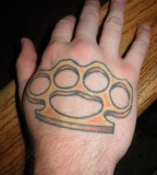 Brass Knuckle Tattoo on Back Hand