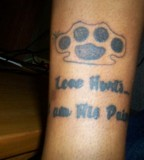 Love Hurts Brass Knuckles Tattoo