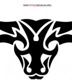 Tribalized Bull Head Tattoo Art