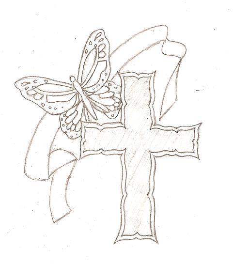cross butterfly tattoo skecth by blkmagick on deviantart tattoomagz. Black Bedroom Furniture Sets. Home Design Ideas