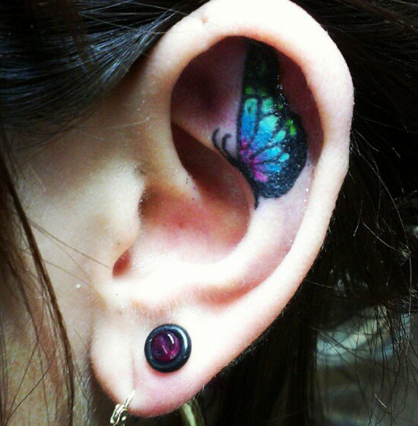 butterfly on ear tattoos for women