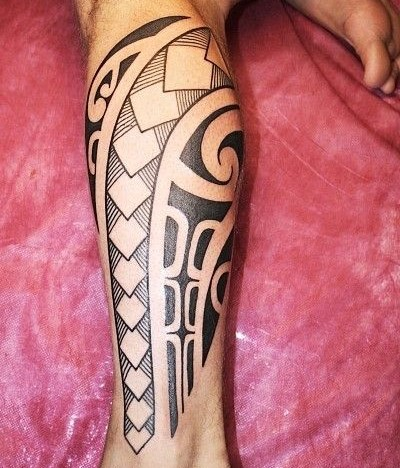 calf tribal tattoo