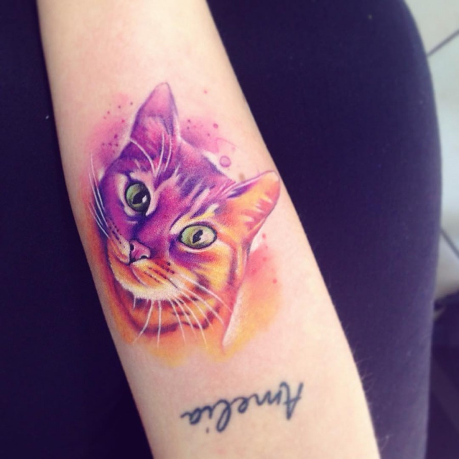 30 gorgeous watercolor tattoos by adrian bascur tattoomagz for Watercolor cat tattoo