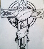 Celtic Cross Tattoo Design On Paper