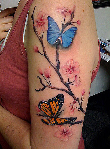 Cherry Blossom Tattoo With Blue And Orange Butterfly