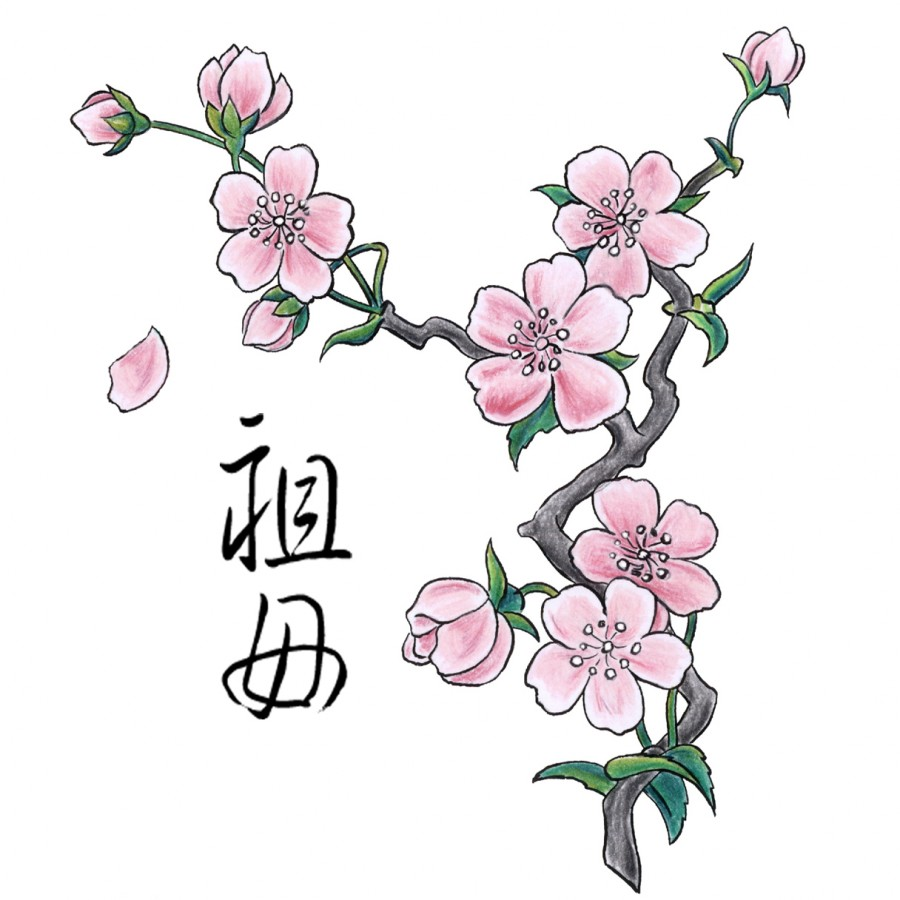Japanese colorful cherry blossom tattoo design ideas for Blossom flower tattoo meaning