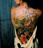 Asian Blossom Full Back Japanese Style Tattoo Design