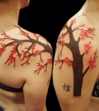 Right Shoulder Cherry Blossom Tattoos Design