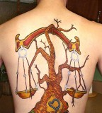 Libra On Cherry Tree Tattoo Pictures