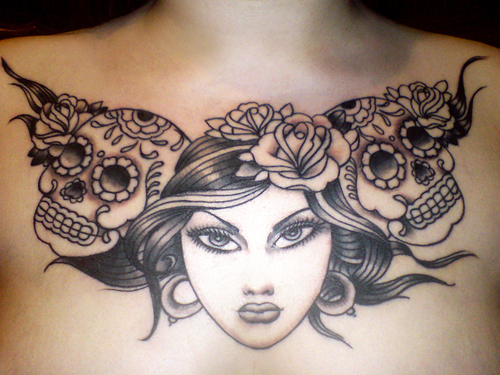 Tattoo Ideas For Women Chest: Beautiful Woman And Mexican Sugar Skulls Chest Piece