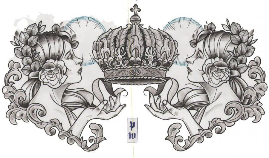 Chest Piece Neo Traditional Sketch Tattoo Crown By Pedro Wong