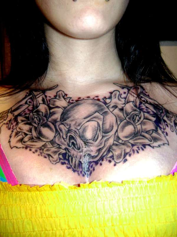 Tattoo Ideas For Women Chest: Gothic Skull And Flowers Chest Tattoo Design Ideas For