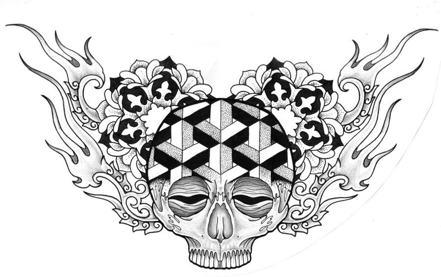 Fiery And Flowery Mexican Skull Chest Tattoo Design By