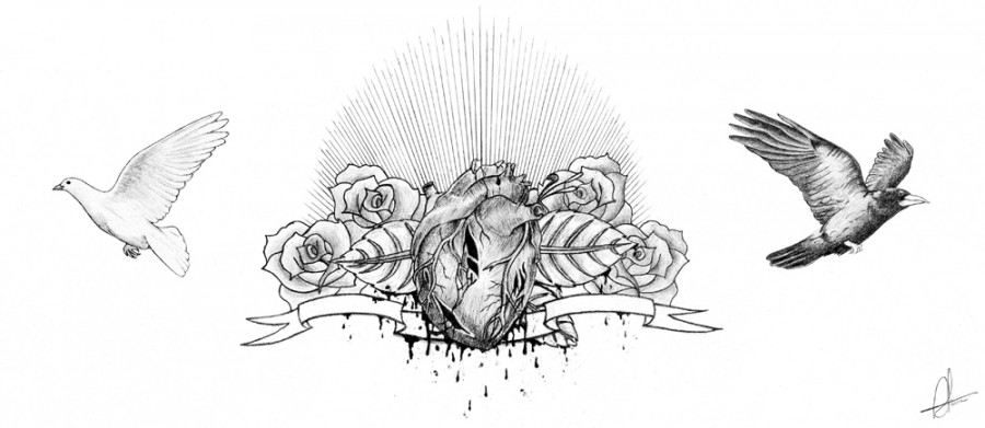 Heart, Flowers, And Birds Chest Piece Tattoo Design Sketch