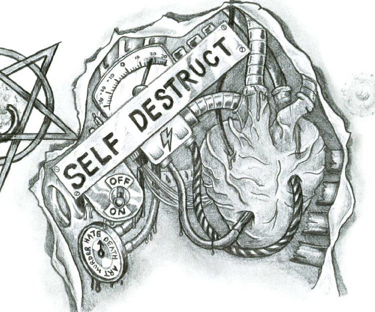 """Self Destruct"" Chest Piece Sketch Tattoo By Mikegee777"