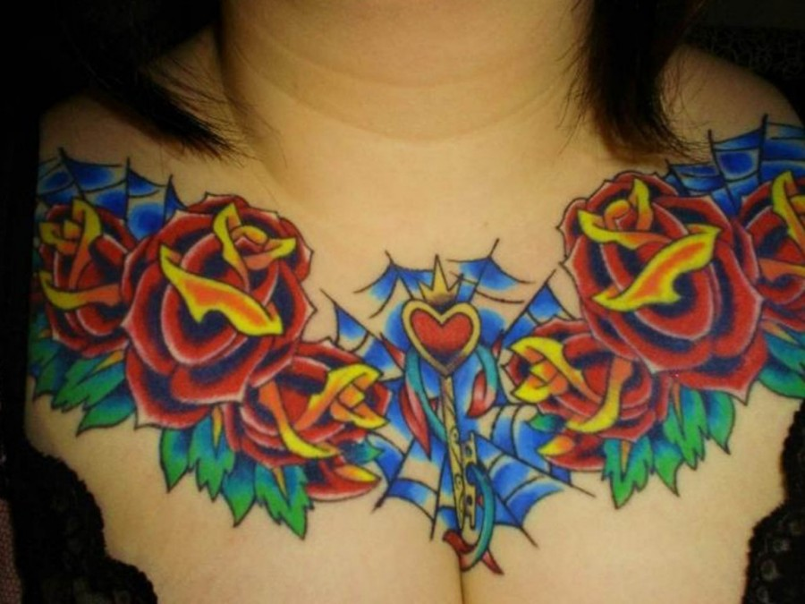 Heart Rose Chest Tattoo Design For Women