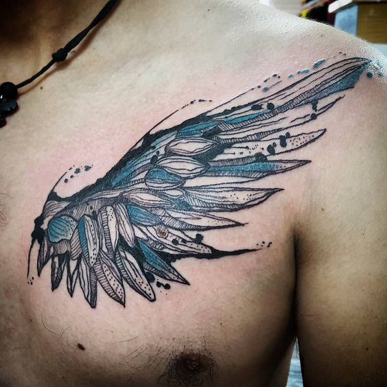 chest wing tattoos for men