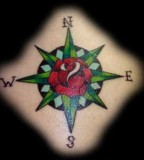 Tattoo With Compass And Rose As Main Ideas