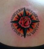 Rose / Compass Tattoos With Lettering Around It