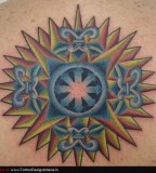 Cool Colorful Compass Tattoo Design
