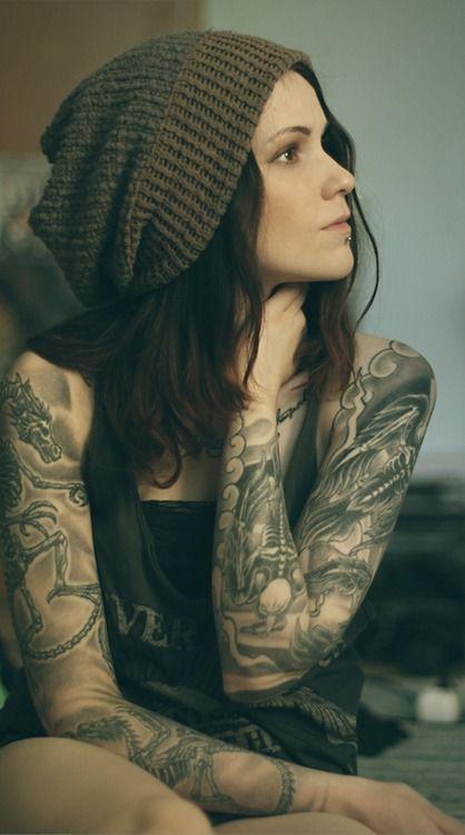 cool full sleeve tattoos for women