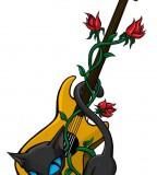 Yellow Guitar and Rose Design Ideas For Tattoo