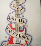 Amazing Design Guitar Tattoo PIctures