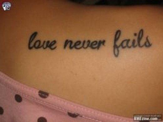 Meaningful Quotes Love Never Fails Tattoo Designs For Women