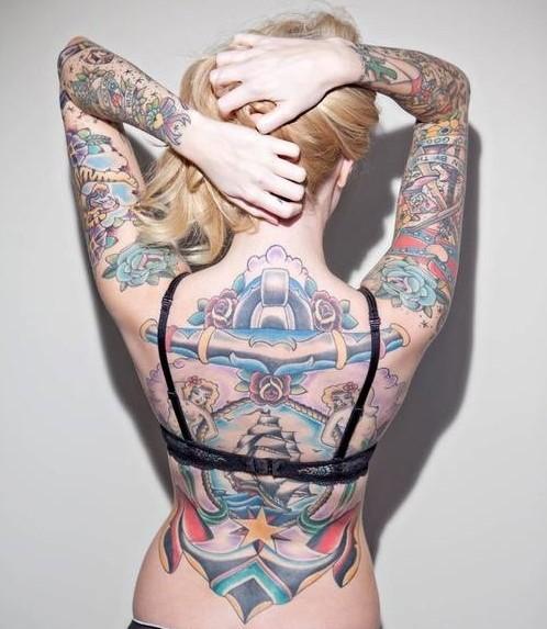 Cool Full Back Body Tattoos For Girls