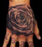 Stunning Bold 3D Flower Tattoo On Men Upper Hand