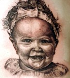 Cute Baby Face Tattoo Design for Guys