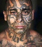 Bold Amazing Men Face Tattoo, Incredible!