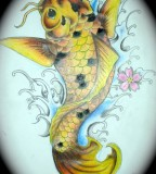 Sweet Yellow Koi Coy Fish Girls Tattoo Design