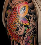Big Koi Fish Tattoo on Right Upper Arm