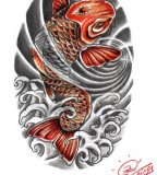 Black Red Japanese Koi Fish Tattoo Design Idea